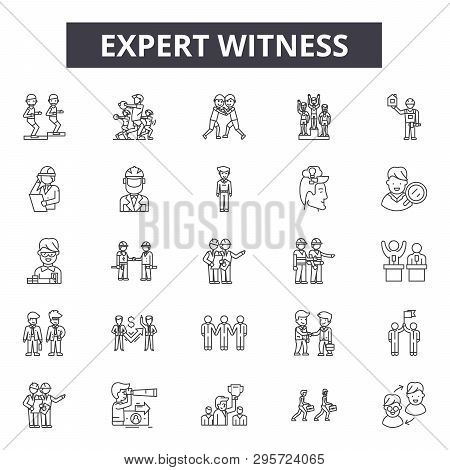 Expert Witness Line Icons, Signs Set, Vector. Expert Witness Outline Concept, Illustration: Expert,