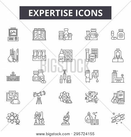 Expertise Line Icons, Signs Set, Vector. Expertise Outline Concept, Illustration: Expertise, Busines