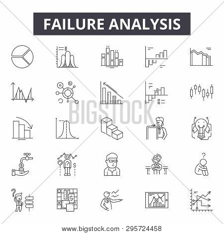 Failure Analysis Line Icons, Signs Set, Vector. Failure Analysis Outline Concept, Illustration: Anal