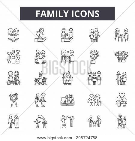 Family Line Icons, Signs Set, Vector. Family Outline Concept, Illustration: Father, Mother, People,