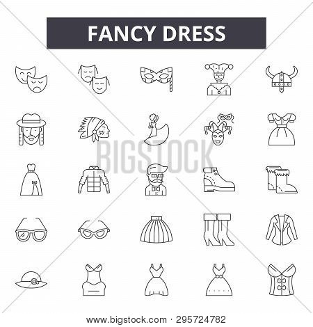 Fancy Dress Line Icons, Signs Set, Vector. Fancy Dress Outline Concept, Illustration: Costume, Isola