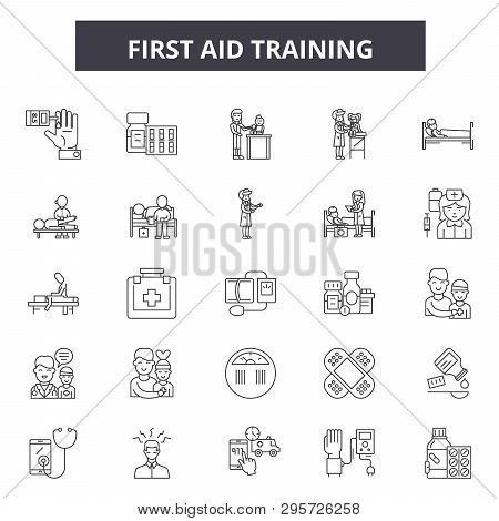 First Aid Training Line Icons, Signs Set, Vector. First Aid Training Outline Concept, Illustration: