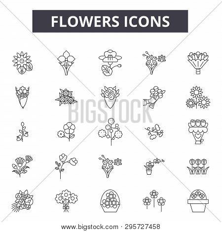 Flowers Line Icons, Signs Set, Vector. Flowers Outline Concept, Illustration: Flower, Nature, Spring