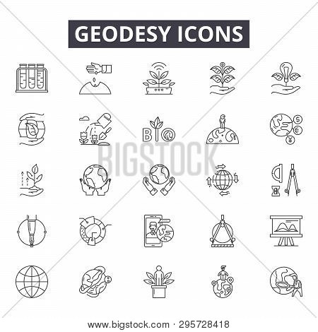 Geodesy Line Icons, Signs Set, Vector. Geodesy Outline Concept, Illustration: Geodesy, Engineering,