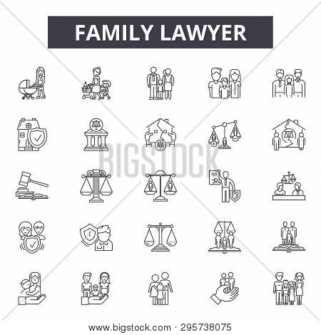 Family Lawyer Line Icons, Signs Set, Vector. Family Lawyer Outline Concept Illustration: Lawyer, Fam