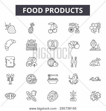 Food Products Line Icons, Signs Set, Vector. Food Products Outline Concept, Illustration: Food, Prod
