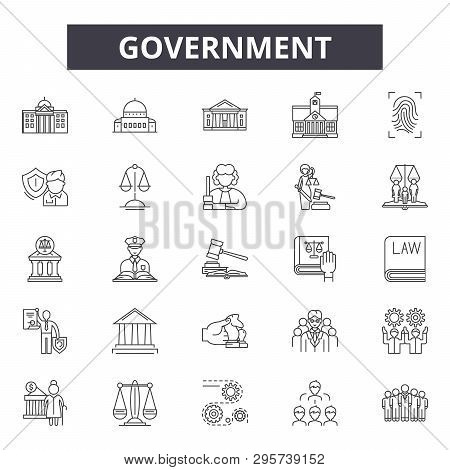 Government Concept Line Icons, Signs Set, Vector. Government Concept Outline Concept, Illustration: