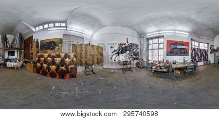 Grodno, Belarus - January 2019: Full Spherical Seamless Panorama 360 Degrees Angle View In Interior