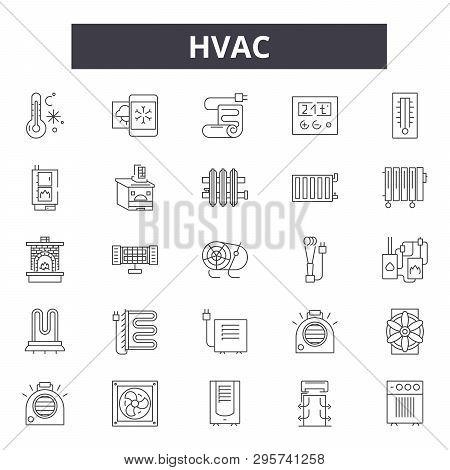 Hvac Line Icons, Signs Set, Vector. Hvac Outline Concept, Illustration: Hvac, Air, Fan, Ventilation,