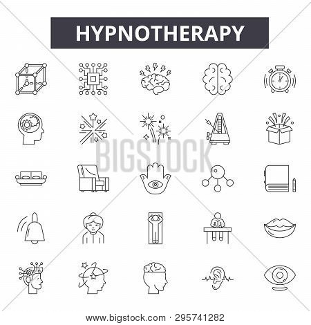 Hypnotherapy Line Icons, Signs Set, Vector. Hypnotherapy Outline Concept, Illustration: Hypnotherapy