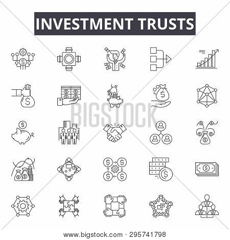 Investment Trusts Line Icons, Signs Set, Vector. Investment Trusts Outline Concept, Illustration: In
