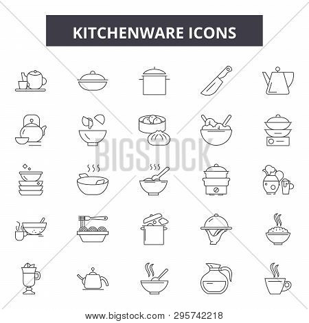 Kitchenware Line Icons, Signs Set, Vector. Kitchenware Outline Concept, Illustration: Kitchenware, K