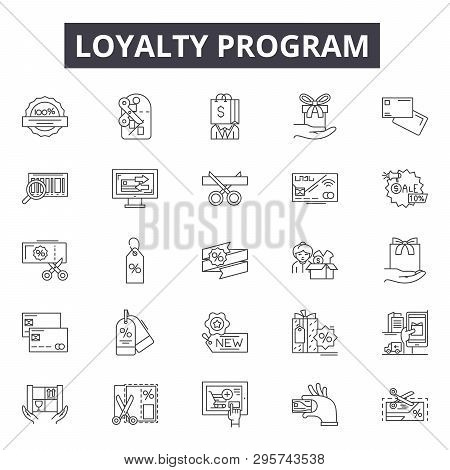 Loyalty Program Line Icons, Signs Set, Vector. Loyalty Program Outline Concept, Illustration: Progra