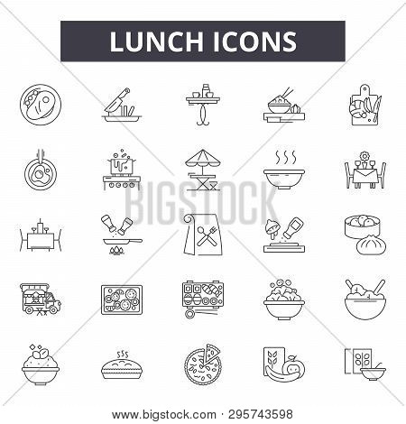 Lunch Line Icons, Signs Set, Vector. Lunch Outline Concept, Illustration: Lunch, Food, Restaurant, D