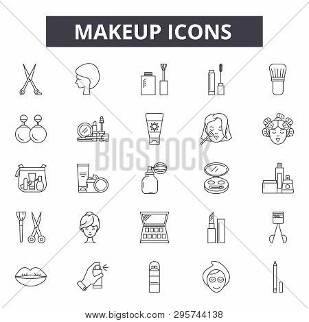 Makeup Line Icons, Signs Set, Vector. Makeup Outline Concept, Illustration: Makeup, Beauty, Lipstick