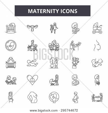 Maternity Line Icons, Signs Set, Vector. Maternity Outline Concept, Illustration: Baby, Maternity, N