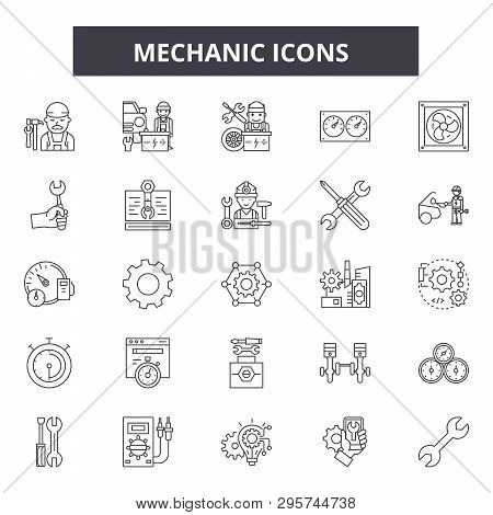 Mechanic Icon Line Icons, Signs Set, Vector. Mechanic Icon Outline Concept, Illustration: Service, M