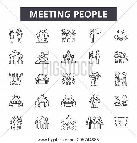 Meeting People Line Icons, Signs Set, Vector. Meeting People Outline Concept, Illustration: Team, Pe