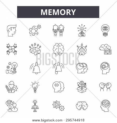 Memory Line Icons, Signs Set, Vector. Memory Outline Concept, Illustration: Memory, Brain, Mind, Hea