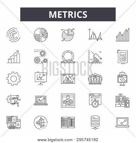 Metrics Line Icons, Signs Set, Vector. Metrics Outline Concept, Illustration: Web, Graph, Business,
