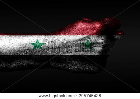A Hand With A Painted Syria Flag Shows A Fig, A Sign Of Aggression, Disagreement, A Dispute On A Dar