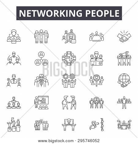 Networking People Line Icons, Signs Set, Vector. Networking People Outline Concept, Illustration: Pe