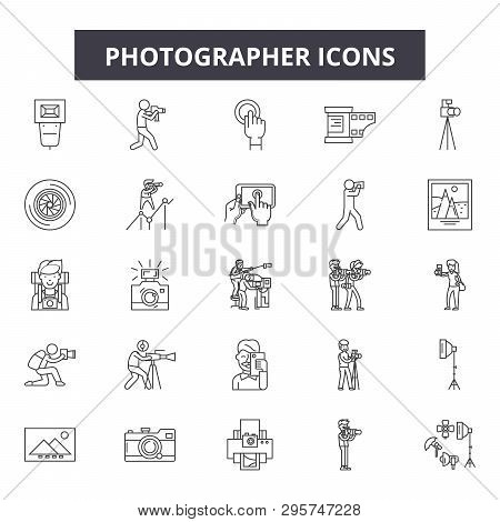Photographer Line Icons, Signs Set, Vector. Photographer Outline Concept, Illustration: Photographer