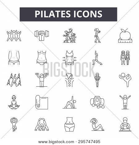 Pilates Line Icons, Signs Set, Vector. Pilates Outline Concept, Illustration: Pilates, Health, Yoga,