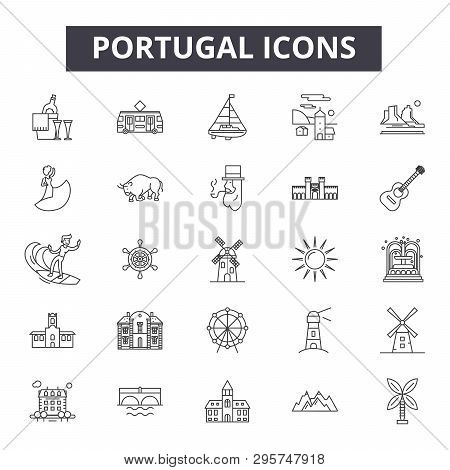 Portugal Line Icons, Signs Set, Vector. Portugal Outline Concept, Illustration: Portugal, Travel, Li