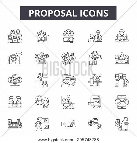 Proposal Line Icons, Signs Set, Vector. Proposal Outline Concept, Illustration: Proposal, Service, C