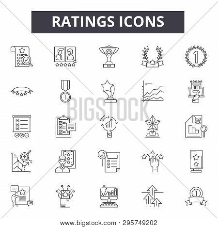 Ratings Line Icons, Signs Set, Vector. Ratings Outline Concept, Illustration: Star, Rating, Rate, Fl