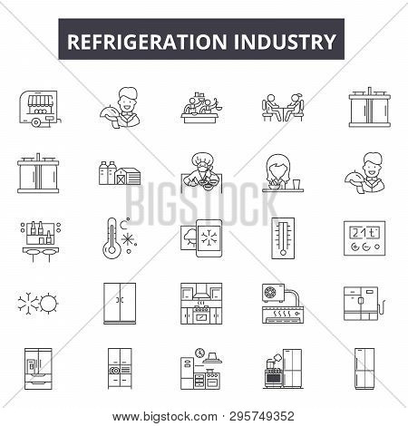Refrigeration Industry Line Icons, Signs Set, Vector. Refrigeration Industry Outline Concept, Illust