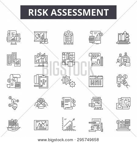 Risk Assessment Line Icons, Signs Set, Vector. Risk Assessment Outline Concept, Illustration: Risk,