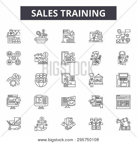 Sales Training Line Icons, Signs Set, Vector. Sales Training Outline Concept, Illustration: Business