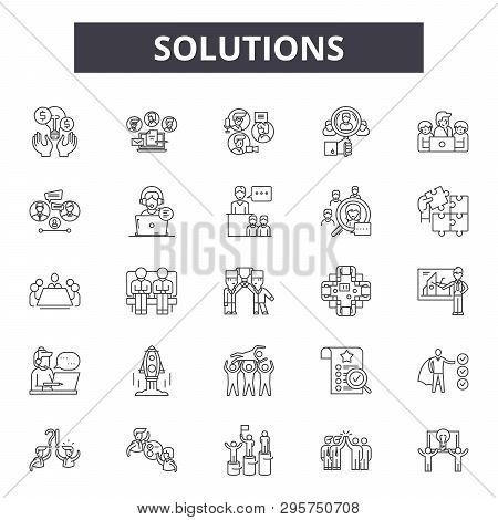 Solutions Line Icons, Signs Set, Vector. Solutions Outline Concept, Illustration: Solution, Idea, Bu
