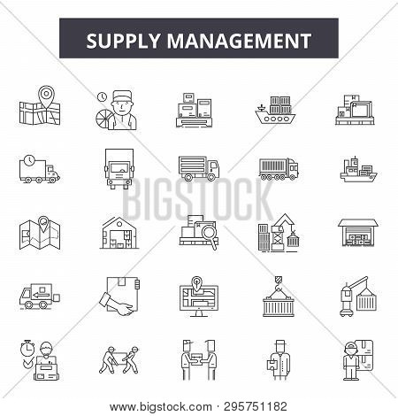 Supply Management Line Icons, Signs Set, Vector. Supply Management Outline Concept, Illustration: Bu