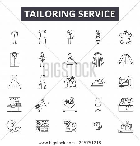 Tailoring Service Line Icons, Signs Set, Vector. Tailoring Service Outline Concept, Illustration: Se