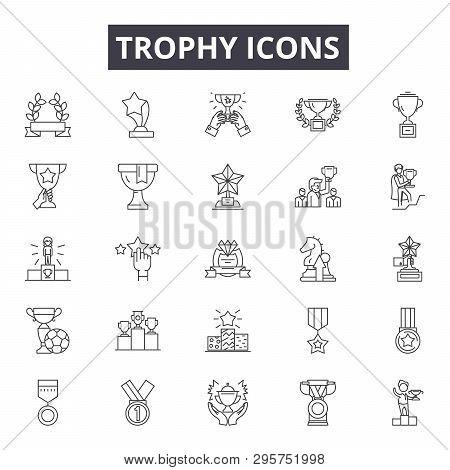 Trophy Line Icons, Signs Set, Vector. Trophy Outline Concept, Illustration: Trophy, Winner, Prize, C
