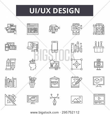 Ui Ux Design Line Icons, Signs Set, Vector. Ui Ux Design Outline Concept, Illustration: Business, De