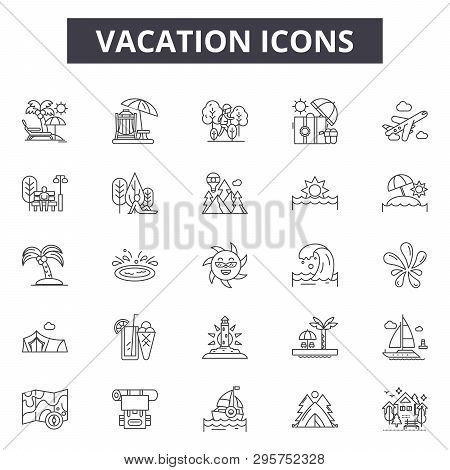 Vacation Line Icons, Signs Set, Vector. Vacation Outline Concept, Illustration: Beach, Sun, Travel,