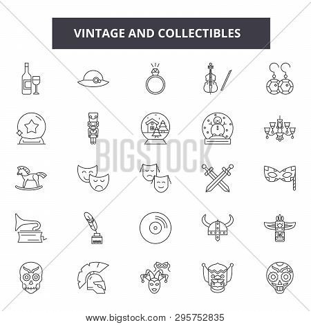 Vintage And Collectibles Line Icons, Signs Set, Vector. Vintage And Collectibles Outline Concept, Il