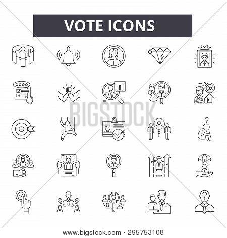 Vote Line Icons, Signs Set, Vector. Vote Outline Concept, Illustration: Voting, Vote, Ballot, Electi