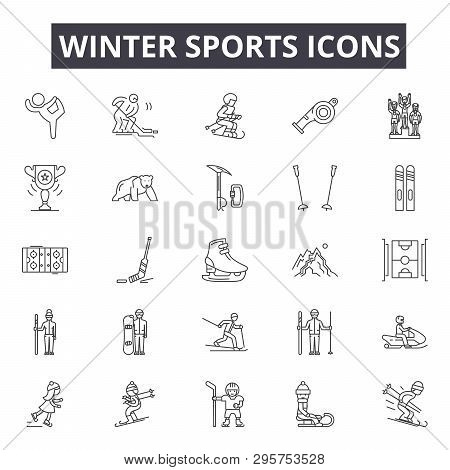 Winter Sports Line Icons, Signs Set, Vector. Winter Sports Outline Concept, Illustration: Winter, Sp