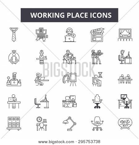 Working Place Line Icons, Signs Set, Vector. Working Place Outline Concept, Illustration: Work, Offi