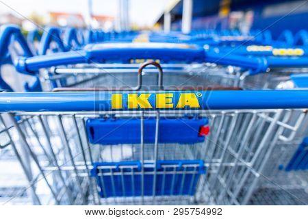 Nuremberg / Germany - April 7, 2019: Ikea Branch On A Warehouse In Nuremberg. Ikea Is A Swedish-foun