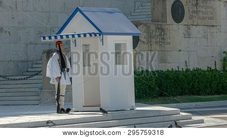 Athens, Greece- September, 4, 2016: Guard In Dress Uniform Beside A Sentry Box At The Parliament In
