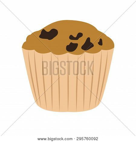 Muffin With Raisins Image. Vector Illustration Design