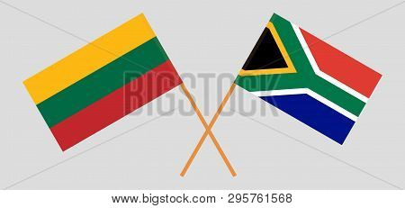 Rsa And Lithuania. The South African And Lithuanian Flags. Official Colors. Correct Proportion. Vect