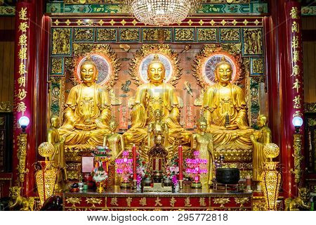 Yaowarat Bangkok, Thailand - 27 January 2019: The Three Main Statue Buddha At Wat Mangkon Kamalawat
