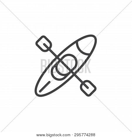 Canoe With Paddle Line Icon. Linear Style Sign For Mobile Concept And Web Design. Kayak Boat With Oa